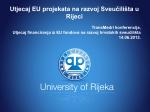 Utjecaj EU projekata na razvoj Sveučilišta u Rijeci