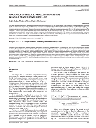 application of the , parameters in fatigue crack growth modelling δ δ
