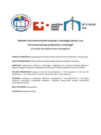 BHAAAS: Peti internacionalni simpozij iz onkologije, Mostar 2013