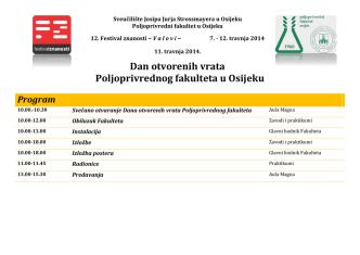 Dan otvorenih vrata Poljoprivrednog fakulteta u Osijeku Program