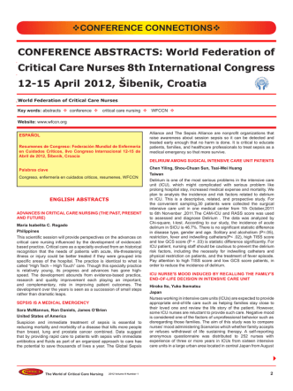 CONFERENCE ABSTRACTS: World Federation of Critical Care