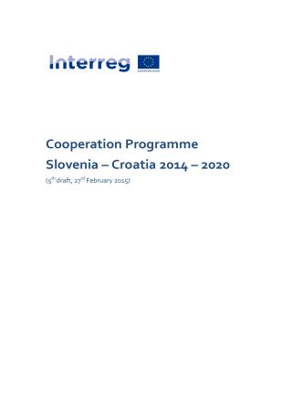 Cooperation Programme Slovenia – Croatia 2014 – 2020