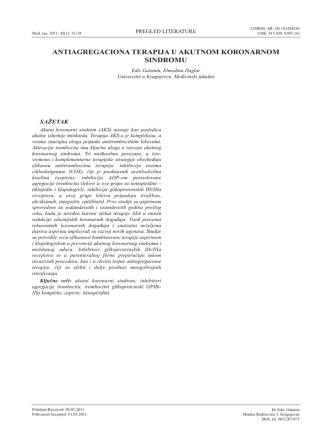 antiagregaciona terapija u akutnom koronarnom sindromu