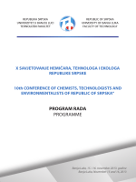 PROGRAM RADA PROGRAMME - Tehnoloski fakultet Banja Luka