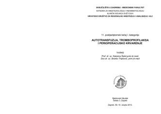 autotransfuzija, tromboprofilaska i perioperacijsko krvarnje
