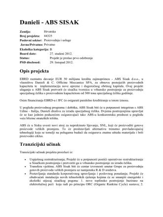 Danieli - ABS SISAK [EBRD - Project Summary Document]