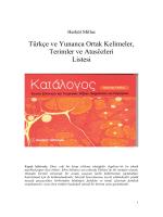 Türkçe ve Yunanca Ortak Kelimeler, Terimler ve Atasözleri