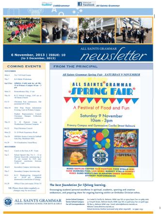1 6 November, 2013 - All Saints Greek Orthodox Grammar School