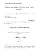 Ukaz o proglašenju Zakona o upravljanju otpadom Zakon o