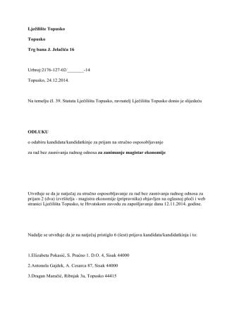 14 Topusko, 24.12.2014. Na temelju čl. 39. St