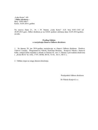 5.Predlog Odluke o razrješenju članova O.D. Luka Kotor A.D.