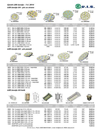 Cjenik LED žarulja - 7.4. 2014 LED žarulje G4