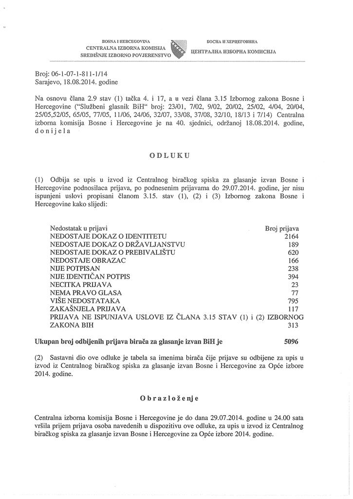 Odluka O Odbijanju Upisa U Izvod Iz Centralnog Birackog