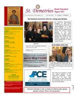 August 2013 Newsletter - St. Demetrios Greek Orthodox Church