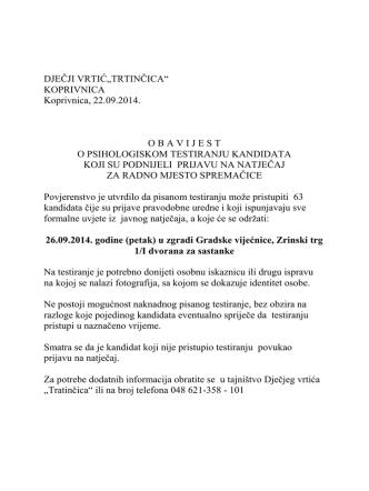 26.09.2014. godine (petak) u zgradi Gradske vijećnice, Zrinski trg 1/I