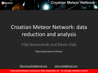 Croatian Meteor Network: data reduction and analysis