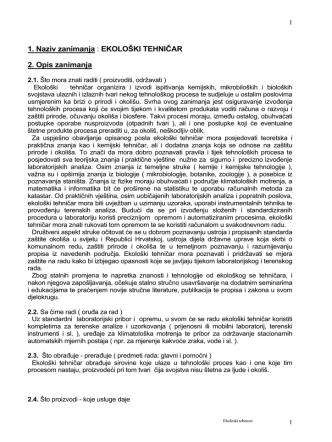 1. Naziv zanimanja : EKOLOŠKI TEHNIČAR 2. Opis zanimanja