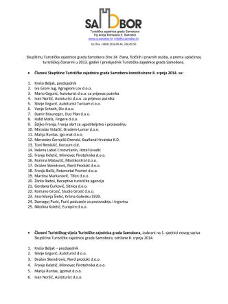 Članovi Skupštine, Turističkog vijeća i Nadzornog odbora Turističke