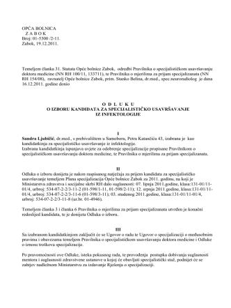 01-5300 /2-11. Zabok, 19.12.2011. Temeljem članka 31. Statuta