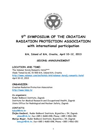 9 SYMPOSIUM OF THE CROATIAN RADIATION