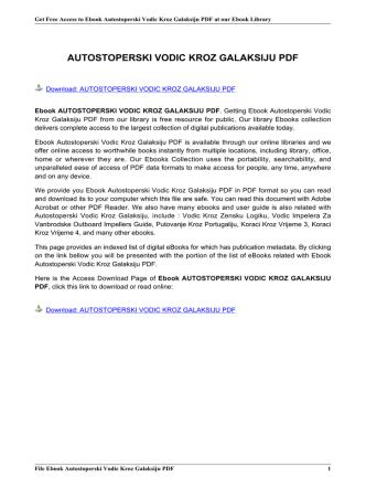 AUTOSTOPERSKI VODIC KROZ GALAKSIJU PDF