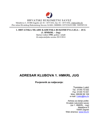 1HMKRL Jug 2013 Adresar klubova v3