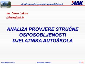 analiza provjere stručne osposobljenosti djelatnika autoškola
