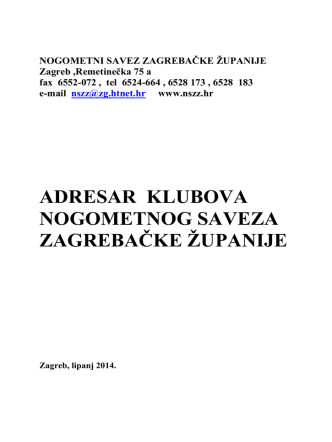 ADRESAR KLUBOVA NSZŽ-e