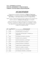 ΑΝΑΚΟΙΝΩΣΗ - Τμήμα Τουριστικών Επιχειρήσεων