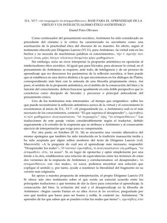 Bases para el aprendizaje de la virtud y el intelectualismo ético