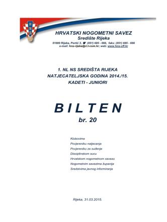 Bilten 20 (kadeti-juniori 2014-15)