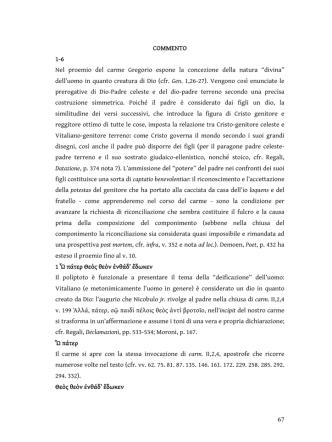 67 COMMENTO 1-6 Nel proemio del carme Gregorio