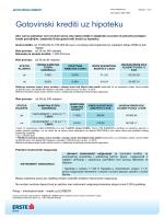 Gotovinski krediti uz hipoteku - Erste & Steiermärkische banka