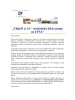 """""""Uključi se i ti – studentska fokus grupa na EFSA"""""""