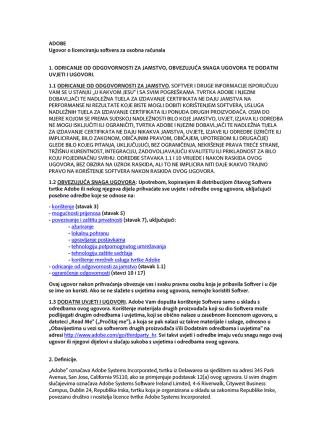 ADOBE Ugovor o licenciranju softvera za osobna računala 1
