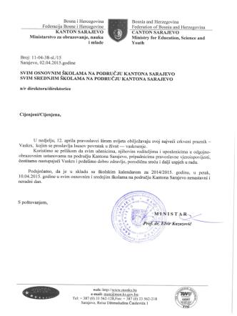 Cestitka - Vaskrs - Ministarstvo za obrazovanje, nauku i mlade