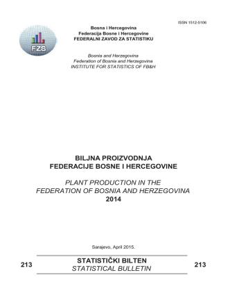 213 213 statistički bilten statistical bulletin 2014 federacije bosne i