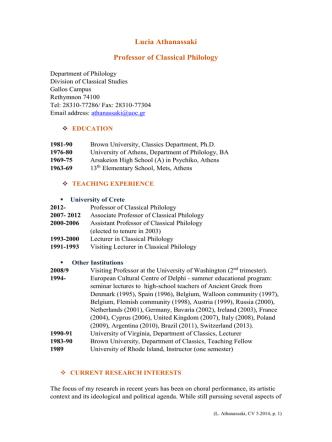 Curriculum Vitae - Department of Philology