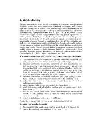 4. Aiolské dialekty