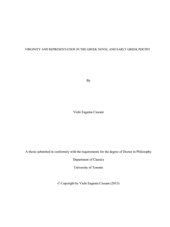 By Vichi Eugenia Ciocani A thesis submitted in conformity