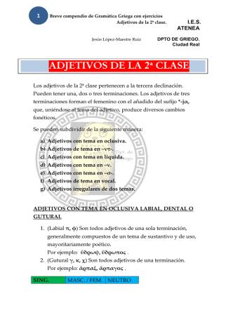 ADJETIVOS DE LA 2ª CLASE