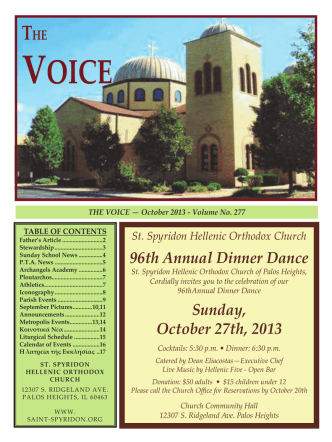96th Annual Dinner Dance Sunday, October 27th, 2013