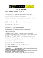 ICIB 2013 PROGRAMME ICIB 2013 Programme