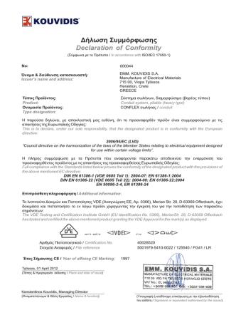 Declaration of Conformity Δήλωση Συμμόρφωσης
