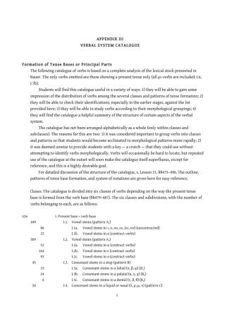 APPENDIX III VERBAL SYSTEM CATALOGUE
