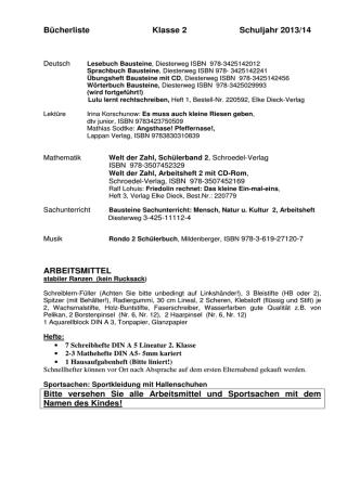 Bücherliste Klasse 2 Schuljahr 2013/14 ARBEITSMITTEL Bitte