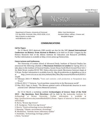COMMUNICATIONS - Department of Classics