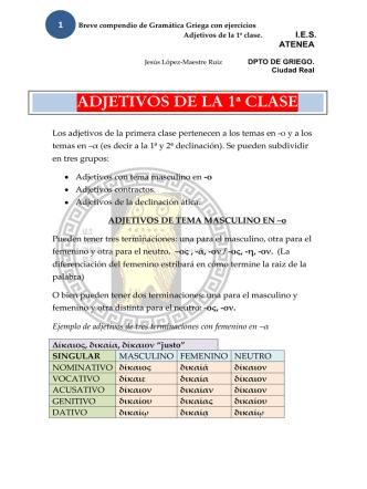ADJETIVOS DE LA 1ª CLASE