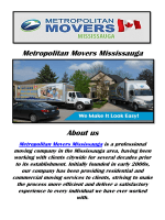 Metropolitan Movers Mississauga Moving Company