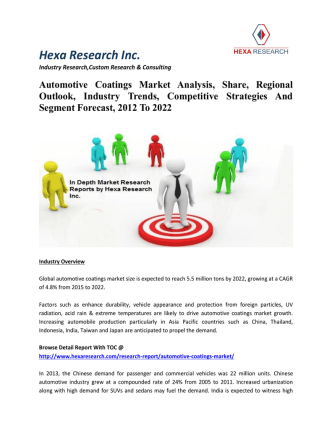Automotive Coatings Market Analysis, Share, Regional Outlook, Industry Trends, Competitive Strategies And Segment Forecast, 2012 To 2022